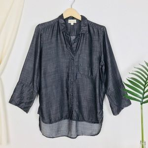 Cloth & Stone Dark Grey Blue Chambray Button Down